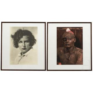 "Leni Riefenstahl – two art prints, a self-portrait and a tribesman of the ""Nuba of Kau"""