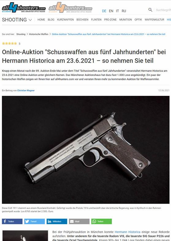 """""""Online-Auktion """"Schusswaffen aus fünf Jahrhunderten"""" bei Hermann Historica am 23.06.2021 - so nehmen Sie teil"""""""