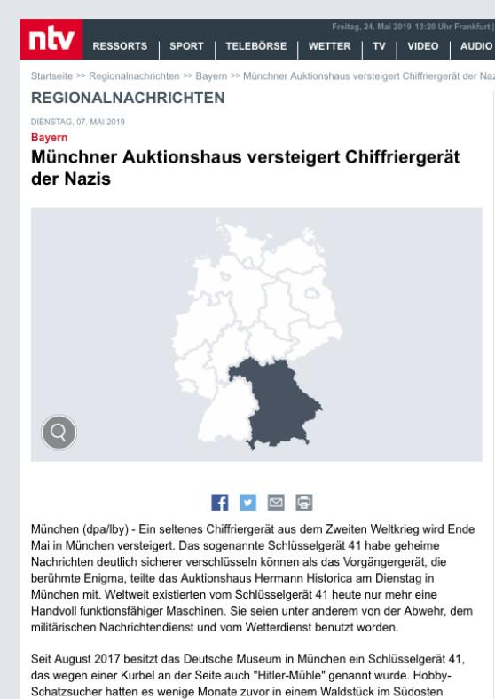 """""""Versteigerung - Münchner Auktionshaus versteigert Chiffriergerät der Nazi"""""""