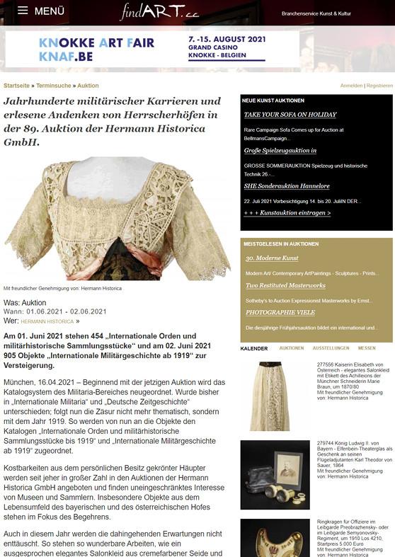 """""""Jahrhunderte militärischer Karrieren und erlesene Andenken von Herrscherhöfen in der 89. Auktion der Hermann Historica GmbH"""""""