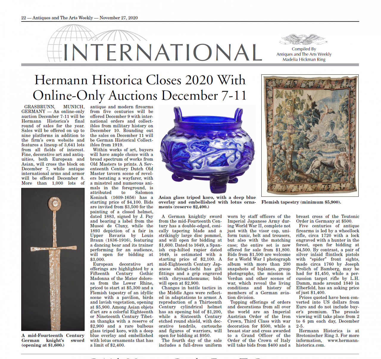 """""""Hermann Historica Closes 2020 With Online-Only Auctions December 7-11"""""""