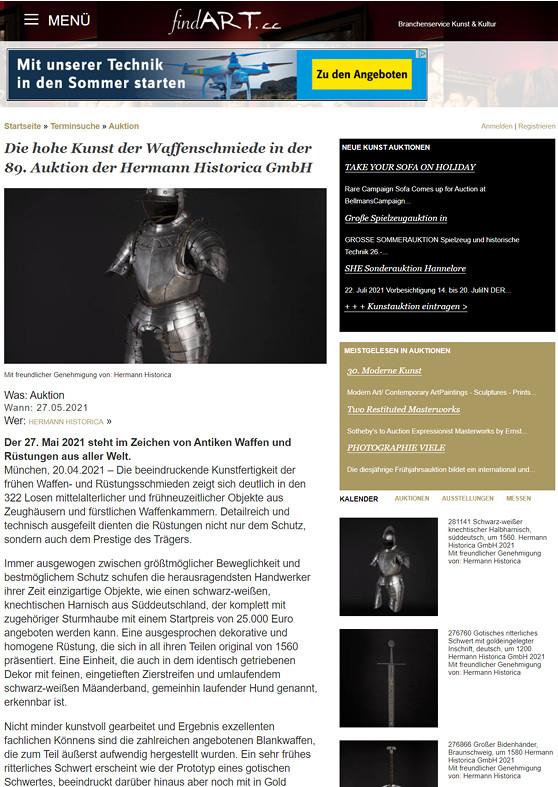 """""""Die hohe Kunst der Waffenschmiede in der 89. Auktion der Hermann Historica GmbH"""""""