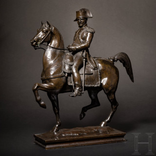 An equestrian figure of Napoleon Bonaparte in uniform, signed C. Marochetti, Paris 19th century