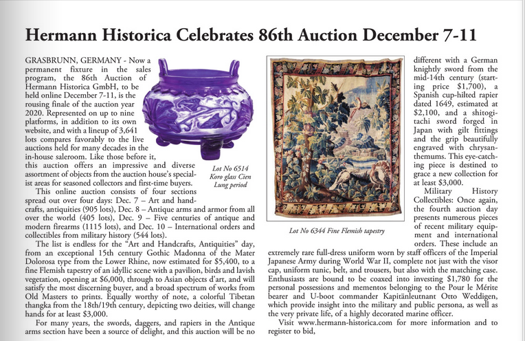 """Hermann Historica Celebrates 86th Auction December 7-11"""