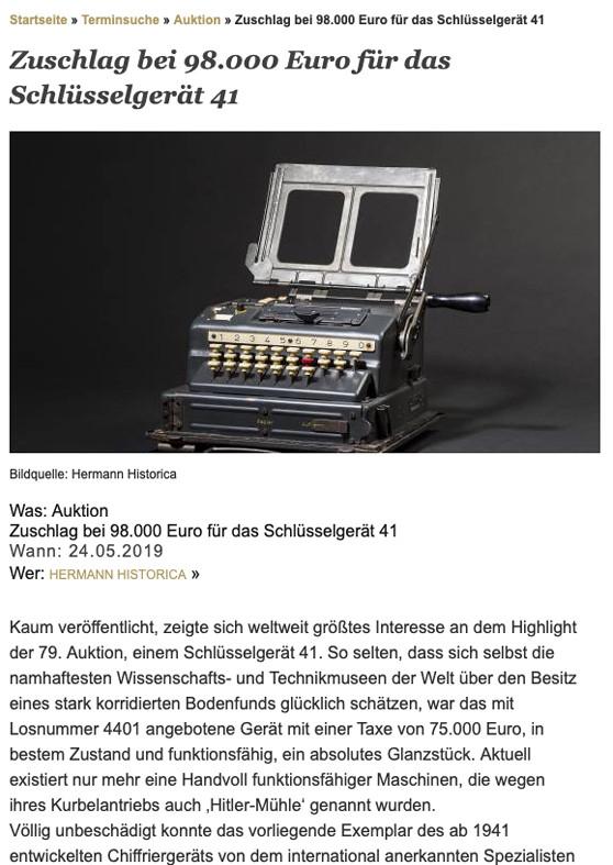 """""""Zuschlag bei 98.000 Euro für das Schlüsselgerät 41"""""""