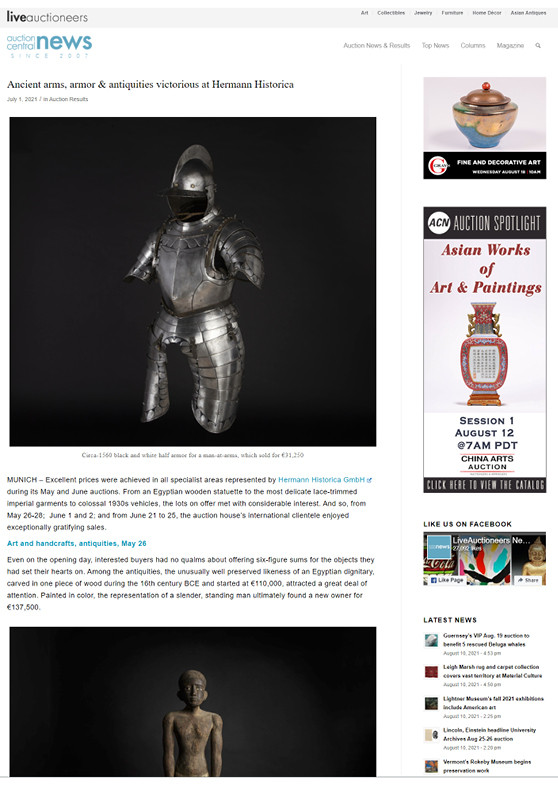 """""""Ancient arms, armor & antiquities victorious at Hermann Historica"""""""