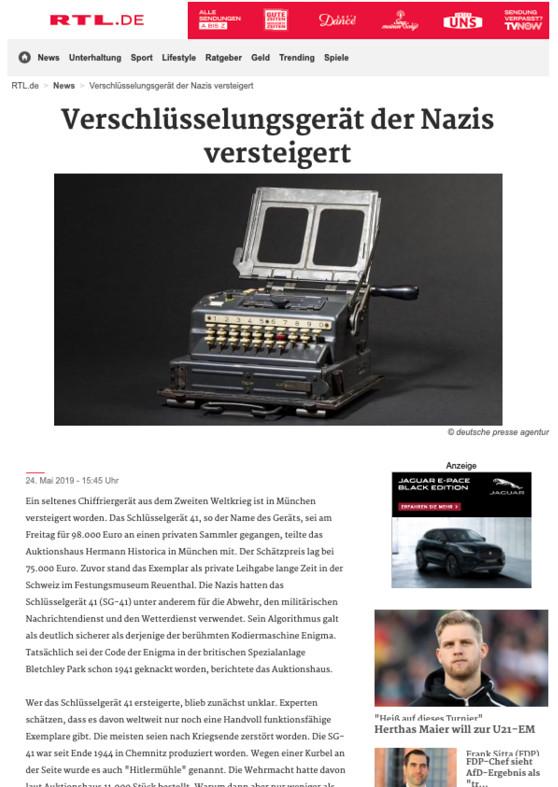 """""""Verschlüsselungsgerät der Nazis versteigert"""""""