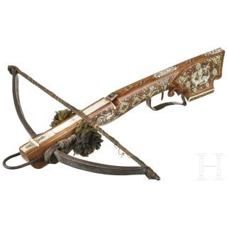 "A heavy German ""Schnepper"" crossbow with lavish bone inlays, 18th/19th century"