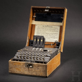 """An """"Enigma I"""" cipher machine, serial number """"A 10694"""", with original wooden case"""