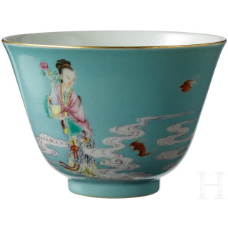 A figurally decorated blue-ground famille rose cup with Yongzheng mark