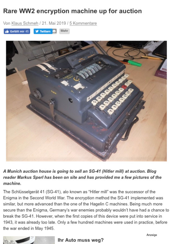 """Rare WW2 encryption machine up for auction"""
