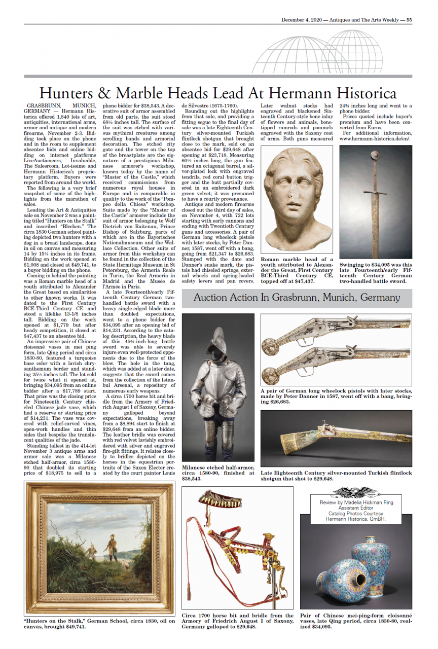 """Hunters & Marble Heads Lead At Hermann Historica"""