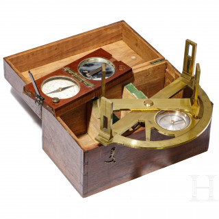 A French cased graphometer and a compass, circa 1900