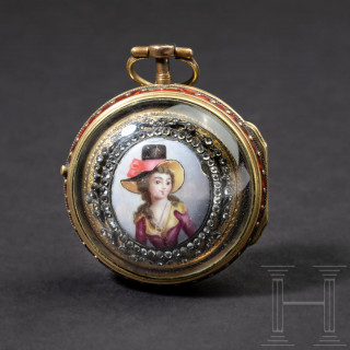 A diamond studded, enamelled verge watch with inner and outer case