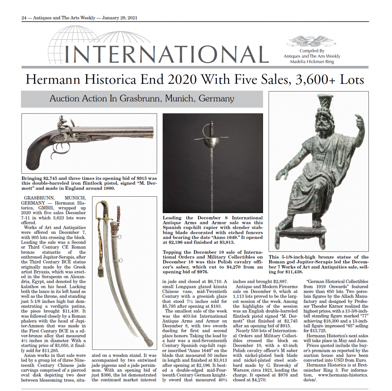 """Hermann Historica End 2020 With Five Sales, 3,600+ Lots"""